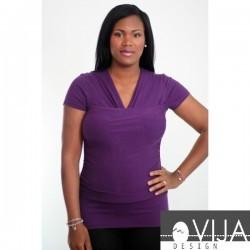 Tricou 3 in 1 pentru îngrijirea piele pe piele stil cangur și pentru alăptare Vija Design Plum (mov), Marime XXL