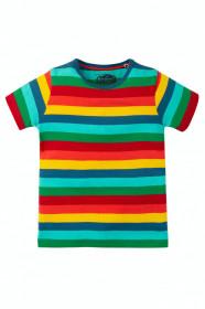Tricou din bumbac organic -Steely Blue Multi Stripe, Frugi