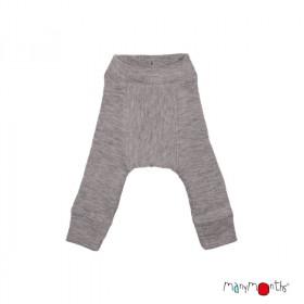 Pantaloni dublati Manymonths lână merinos - Silver Cloud