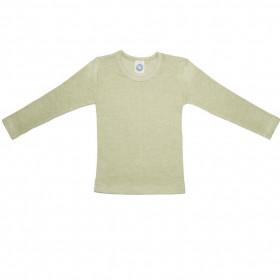 Bluză Cosilana din lână merinos, mătase și bumbac - Green Moss