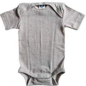 Body Cosilana cu mânecă scurtă lână merinos, mătase si bumbac - Grey Melange