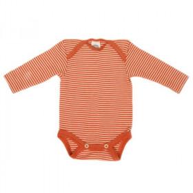 Body Cosilana din lână merinos și mătase - Dungi portocalii