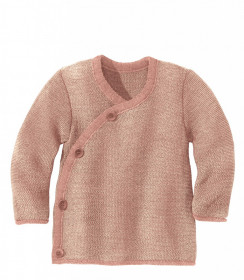 Cardigan lână merinos Disana - Rose/Natural