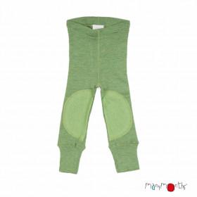 Colanți lână merinos Manymonths cu protecții genunchi - Patches Jade Green