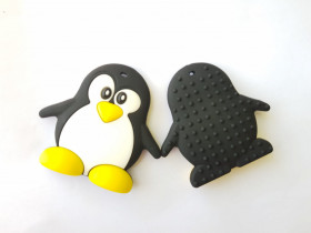 Colier de babywearing, alaptare si dentitie din silicon - I love mom & macarons Red Pinguin