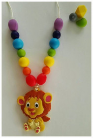 Colier de babywearing, alaptare si dentitie din silicon - Rainbow Lion