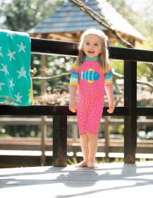 Costum de inot fetite protectie UV - Flamingo Spot/Fish, Frugi