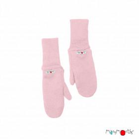 Mănuși dublate din lână merinos ManyMonths - Stork Pink