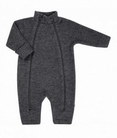 Overall Joha din lana merinos fleece, cu manusi si botosei - Basic Grey