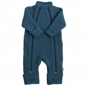Overall Joha din lana merinos fleece, cu manusi si botosei - Petrol Blue
