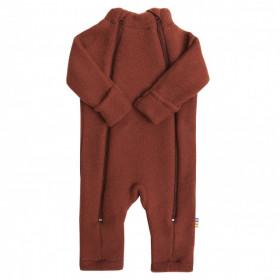 Overall Joha din lana merinos fleece, cu manusi si botosei - Red