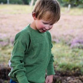 Pulover lână merinos ManyMonths - Jade Green