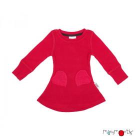 Rochie ManyMonths Heart Pockets lână merinos - Cranberry Nectar
