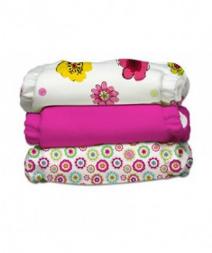 Set 3 Scutece Textile Charlie Banana - inserturi noi cu fleece ,Hot Blooms (Transport Gratuit)