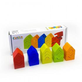 Set de constructii 25 piese,Turn -Jucarie Din Lemn Cubika