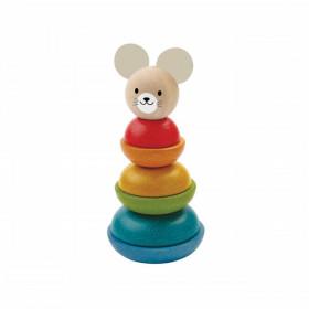 Turn de stivuit cu inele colorate, model iepuras, Plan Toys