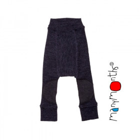 Pantaloni dublati Manymonths Patches din lână merinos - Foggy Black