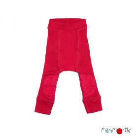 Pantaloni dublati Manymonths Patches lână merinos - Cranberry Nectar