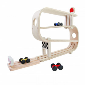 Pistă pentru curse de mașinuțe din lemn, Plan Toys