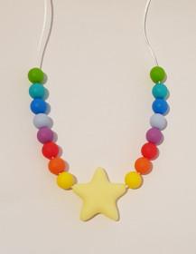 Colier de babywearing, alaptare si dentitie din silicon - Rainbow Star