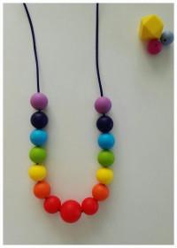 Colier de babywearing, alaptare si dentitie din silicon - Rainbow