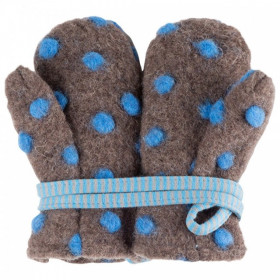 Manusi Pure Pure din lână organica boiled wool Dots - Brown/Ash Blue