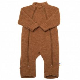 Overall Joha din lana merinos fleece, cu manusi si botosei - Basic Caramel Melange