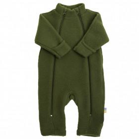 Overall Joha din lana merinos fleece, cu manusi si botosei - Bottle Green