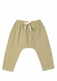 Pantaloni baggy din muselină Organic by Feldman - Play of Colors Sage-Green