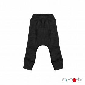 Pantaloni dublați Manymonths lână merinos - Foggy Black