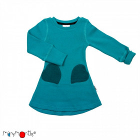 Rochie ManyMonths Unique Heart Pockets lână merinos - Royal Turquoise