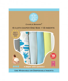Set 6 scutece textile Charlie Banana - inserturi noi cu fleece , Cactus Star