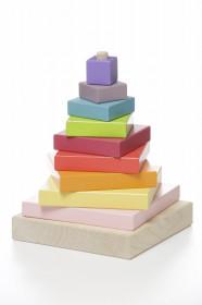Set Constructii 10 Piese, Piramida Culorilor-Jucarie din lemn Cubika