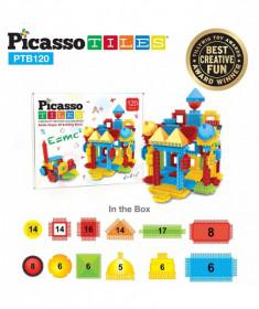 Set PicassoTiles Basic Bristle Shape Blocks - 120 de forme de construcție ce se întrepătrund