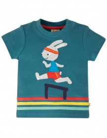 Tricou din bumbac organic - Steely Blue/Bunny, Frugi