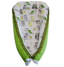 Baby Nests din bumbac - Green Owls