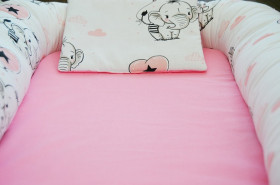 Baby Nests din bumbac Pink Elephant
