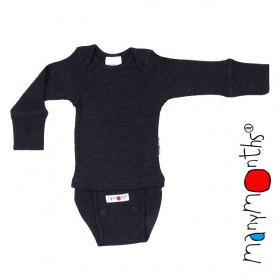 Body/Bluza (2 in 1) ManyMonths lână merinos - Foggy Black