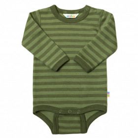 Body din lână merinos Joha - Green Stripe