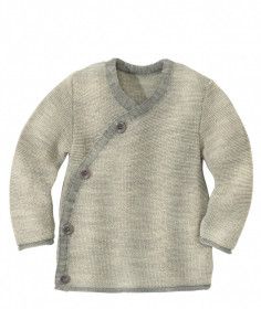 Cardigan lână merinos Disana - Grey/Natur