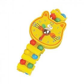 Ceas de jucarie din lemn Pisica