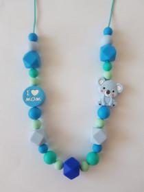 Colier de babywearing, alaptare si dentitie din silicon - I love mom & Blue Koala