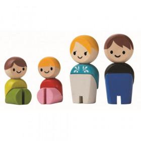 Familie de papusi, set de figurine din lemn, Plantoys