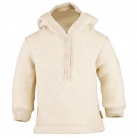 Hoodie Mikk-line din fleece lână merinos - Melange Offwhite (bej/crem)