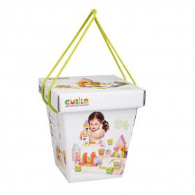 Kit De Constructie Pentru Fetite 55 piese, Jucarie Din Lemn, Cubika