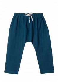 Pantaloni baggy din muselină Organic by Feldman - Play of Colors Petrol-Blue