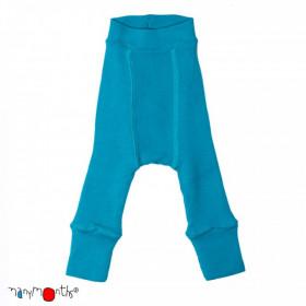 Pantaloni dublati Manymonths lână merinos - Royal Turquoise