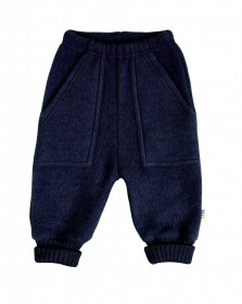 Pantaloni lână merinos fleece Joha - Navy