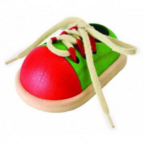 Pantof de jucărie din lemn cu șireturi pentru copii, Plan Toys