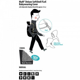 Protectie MaM Deluxe SoftShell FLeX- Black/Rock Grey + Cagula ajustabila